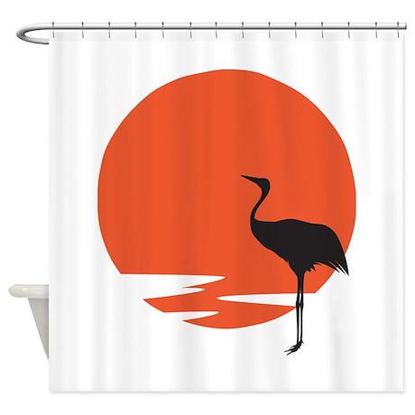 Crane Bird Shower Curtain By Petdrawings