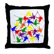 Colorful splatters Throw Pillow