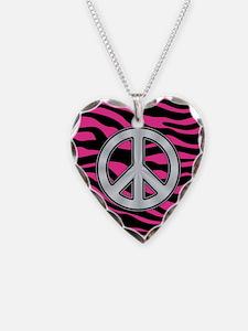 HOT PINK ZEBRA SILVER PEACE Necklace
