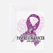 Pancreatic Love Hope Bir Greeting Cards (Pk of 20)