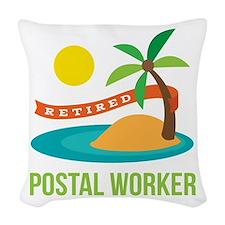 Retired Postal worker Woven Throw Pillow