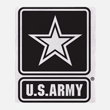 US ARMY White Star Throw Blanket