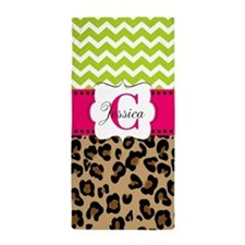 Leopard Pink Green Chevron Personalized Beach Towe