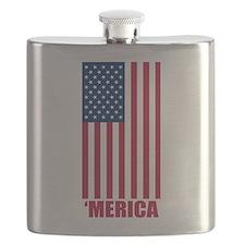 Merica American Flag Flask
