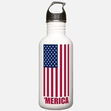Merica American Flag Water Bottle