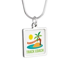 Retired Track coach Silver Square Necklace