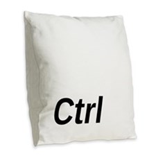 Control Key Burlap Throw Pillow