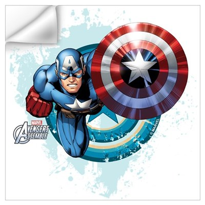 Captain america flying wall art wall decal Captain america wall decor