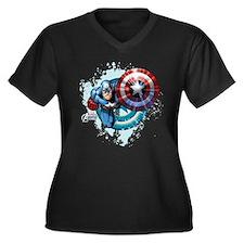 Captain Amer Women's Plus Size V-Neck Dark T-Shirt