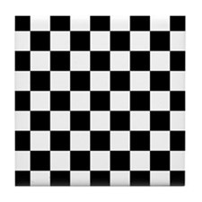 Black And White Checkered Tile Coaster