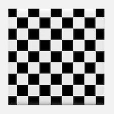 Black And White Checkered Tile Coaster