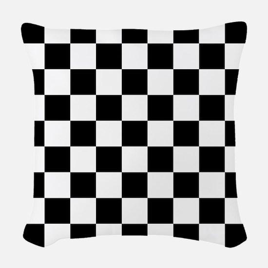Black And White Checkered Woven Throw Pillow