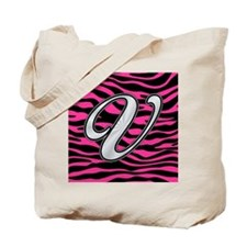 HOT PINK ZEBRA SILVER V Tote Bag