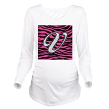 HOT PINK ZEBRA SILVER V Long Sleeve Maternity T-Sh