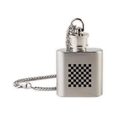 Black And White Checkered Flask Necklace
