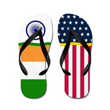India Indian American Flag Flip Flops