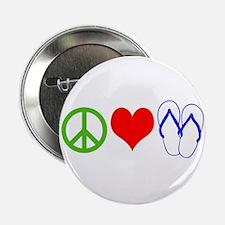 "PEACE, LOVE, FLIP-FLOPS (THONGS) 2.25"" Button"