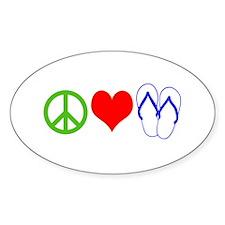 PEACE, LOVE, FLIP-FLOPS (THONGS) Decal