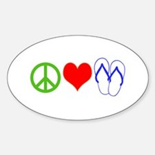 PEACE, LOVE, FLIP-FLOPS (THONGS) Stickers