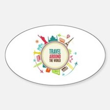 Travel around the world Sticker (Oval)