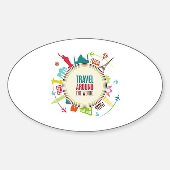 Travel around the world Sticker (Oval)
