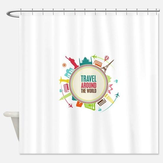 Travel around the world Shower Curtain