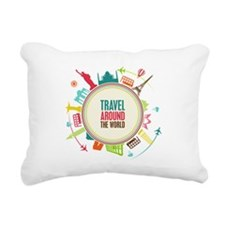 Travel around the world Rectangular Canvas Pillow