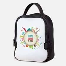 Travel around the world Neoprene Lunch Bag