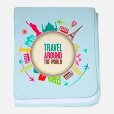 Travel around the world baby blanket