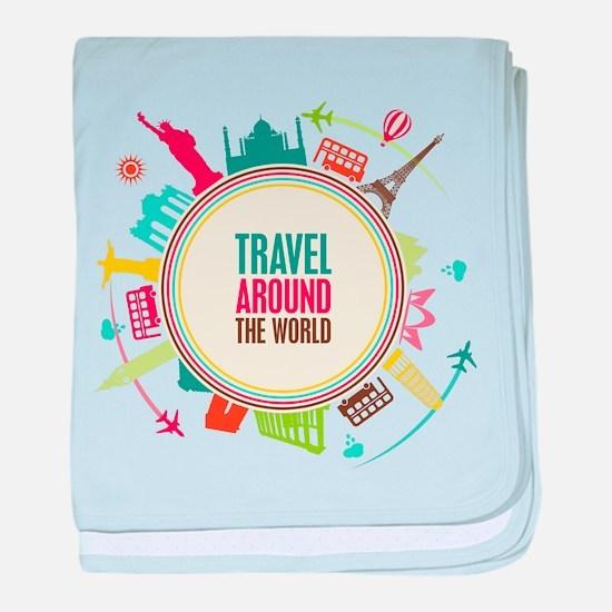 Travel around the world baby blanket
