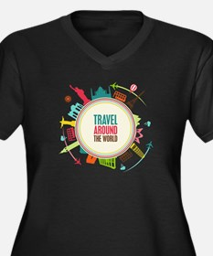 Travel around the world Women's Plus Size V-Neck D