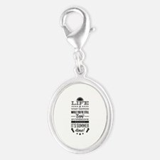 Summer time Silver Oval Charm