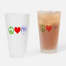 PEACE, LOVE, FLIP-FLOPS (THONGS) Drinking Glass