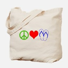 PEACE, LOVE, FLIP-FLOPS (THONGS) Tote Bag
