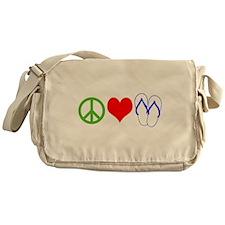 PEACE, LOVE, FLIP-FLOPS (THONGS) Messenger Bag