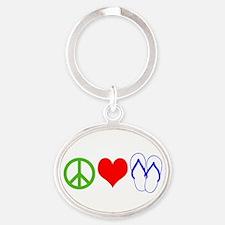 PEACE, LOVE, FLIP-FLOPS (THONGS) Keychains