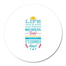 Summer time Round Car Magnet