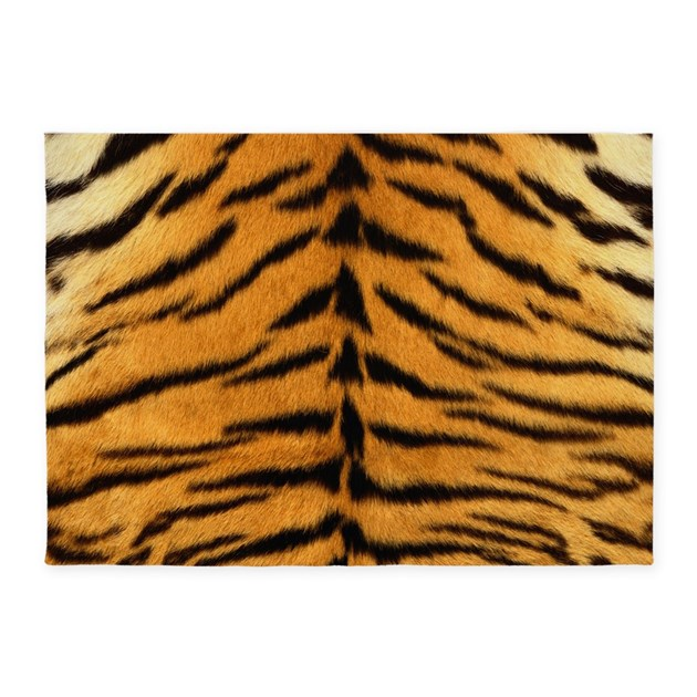 Tiger Fur Print 5'x7'Area Rug By CoolBedding