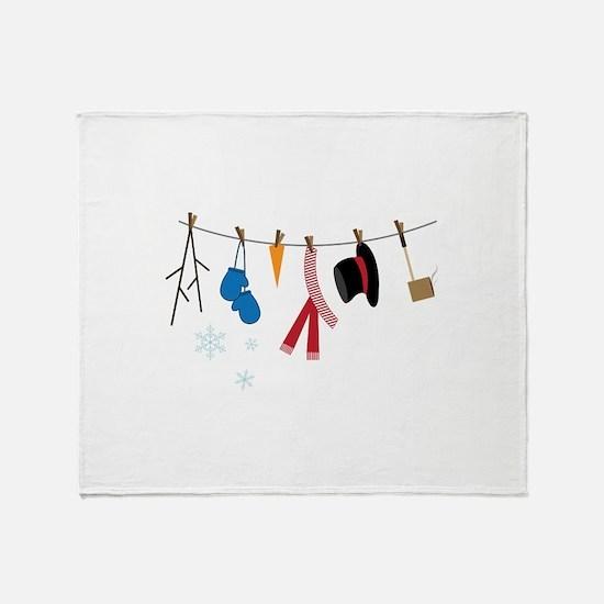 Snowman Clothing Throw Blanket