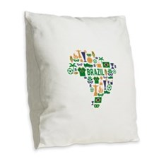 Brazil worl cup Burlap Throw Pillow