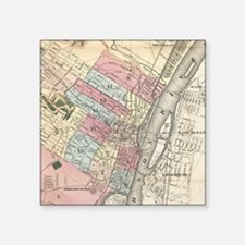 "Vintage Map of Albany NY (1 Square Sticker 3"" x 3"""
