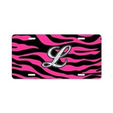 HOT PINK ZEBRA SILVER L Aluminum License Plate