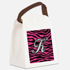 HOT PINK ZEBRA SILVER K Canvas Lunch Bag