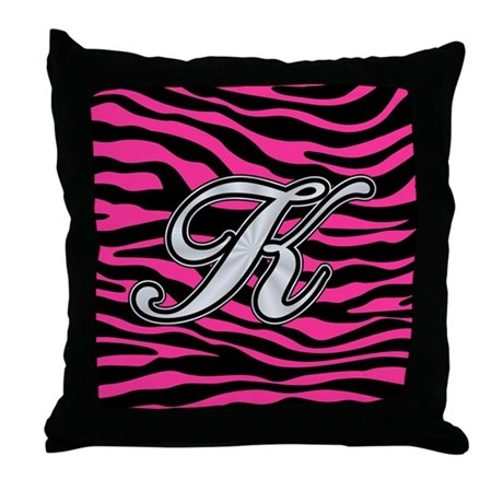 Hot Pink And Zebra Throw Pillows : HOT PINK ZEBRA SILVER K Throw Pillow by monogramit