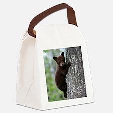 Bear Cub Climbing a Tree Canvas Lunch Bag