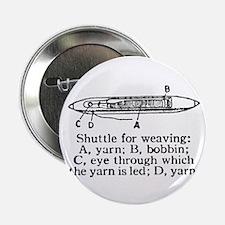 Vintage Weaving Shuttle Diagr Button