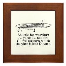 Vintage Weaving Shuttle Diagr Framed Tile