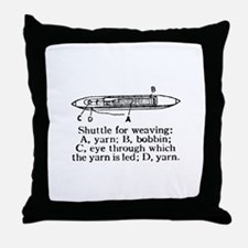 Vintage Weaving Shuttle Diagr Throw Pillow