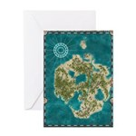 Pirate Adventure Map Greeting Cards