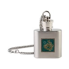 Pirate Adventure Map Flask Necklace